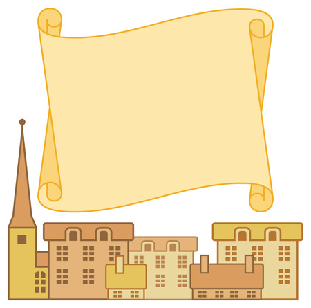 spire: frame with european traditional houses and paper scroll on background Illustration