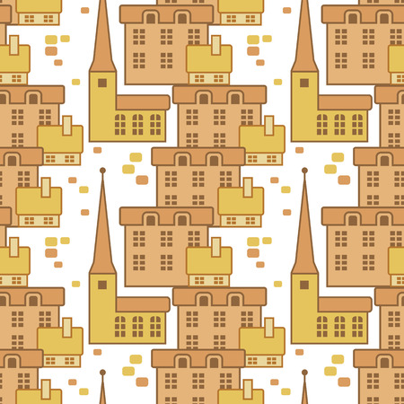 spire: Seamless pattern with vintage houses
