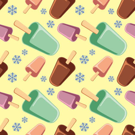 creams: Seamless pattern with ice creams and snowflakes