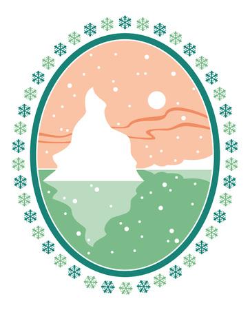 deep freeze: Landscape with iceberg in oval frame Illustration