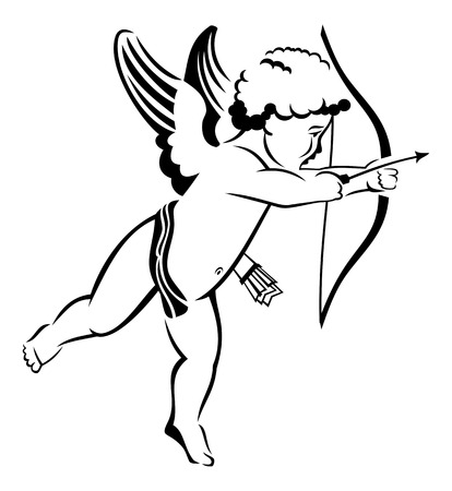 contour: Contour image of Cupid flying with bow