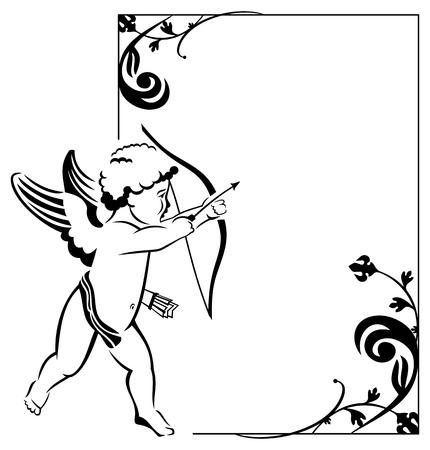 valentine cherub: Contour Valentine frame with Cupid