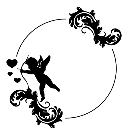 cupido: Round black and white frame with Cupid silhouette