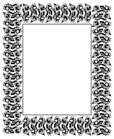 ornamental fish: Frame with ornamental fish in medieval style