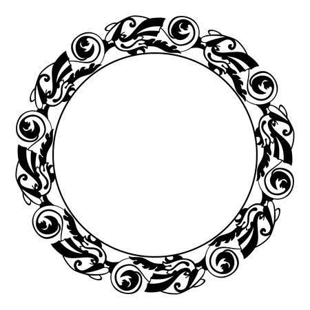 marcos redondos: marco de esquema redondo con peces ornamentales