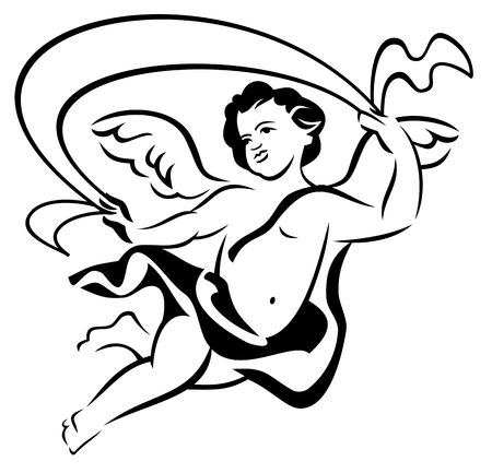 cherub: Outline image of flying angel
