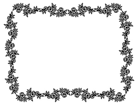 balck: Horizontal balck and white frame with roses