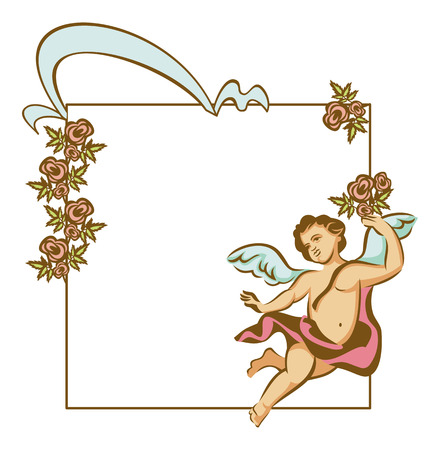 cupido: Vector frame with Cupid