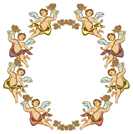 floral ornaments: Round frame with Cupids