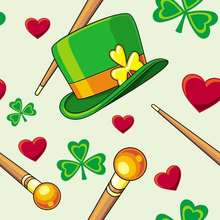 patrick: Seamless pattern with Saint Patrick holiday symbols