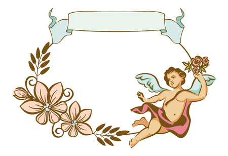 cupido: Round frame with Cupids