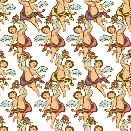 angel roses: Seamless pattern with roses and cherubs Illustration
