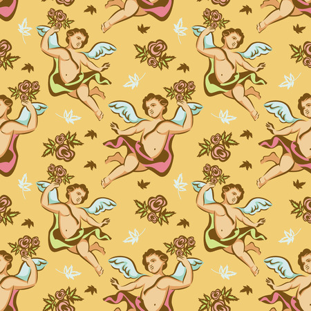 cupido: Seamless pattern with roses and cherubs Illustration