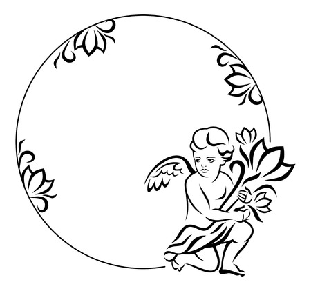 cupido: Round frame with little angel Illustration