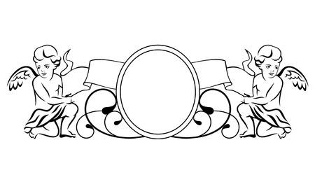 dessin au trait: Outline vignette avec deux petits anges Illustration