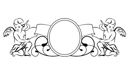 black outline: Outline vignette with two little angels Illustration