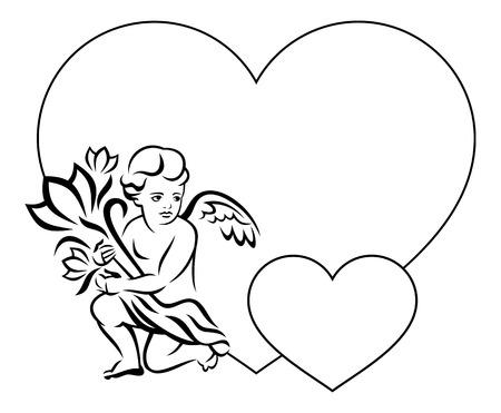 dessin au trait: Cadre élégant en forme de coeur avec le contour ange avec des fleurs Illustration