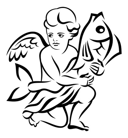 outline fish: Image of the angel holds big fish