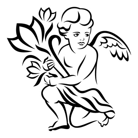 cupido: Angel with a bouquet of flowers