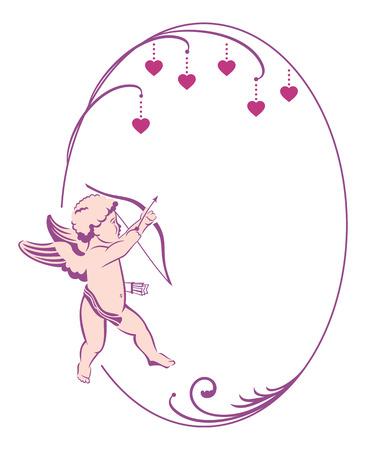 cupido: Round Valentine frame with Cupid Illustration