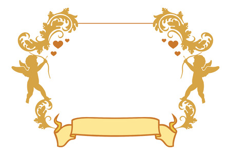 outline wedding: Valentine frame with Cupid silhouette