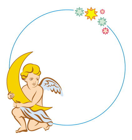 cupido: Round color frame with little angel with moon