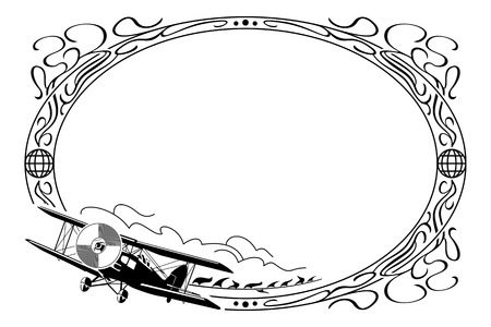 oval frame: Oval frame with airplane