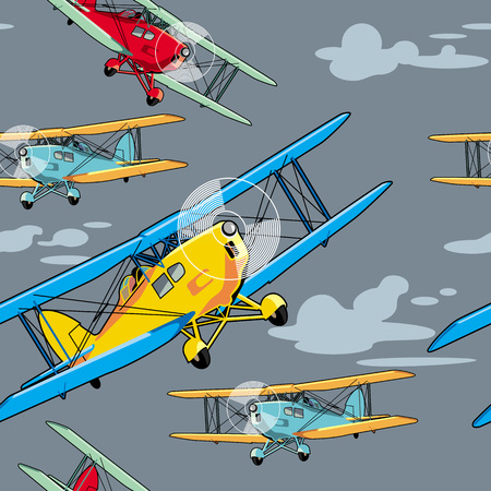 allover: Seamless pattern with retro airplanes