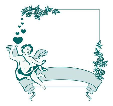 cupido: Elegant frame in blue tone with flying angel Illustration