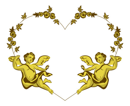 cupido: Heart shaped Valentine frame with Cupids