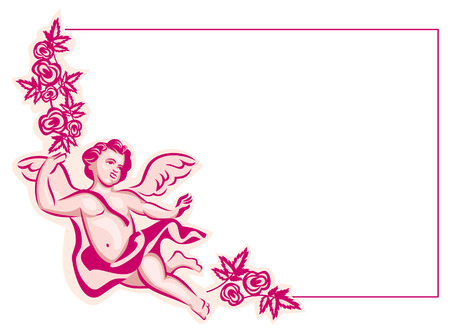 cupido: Red vector frame with Cupid