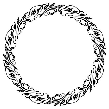 marcos redondos: Silueta marco redondo en estilo art nouveau Vectores