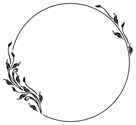 Round silhouette frame in art nouveau style