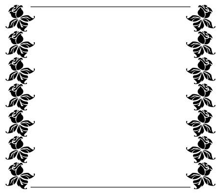 rosas negras: silueta marco con rosas negras