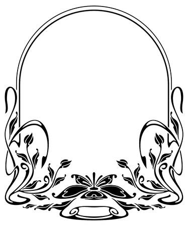 stile liberty: Silhouette cornice in stile art nouveau Vettoriali