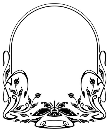 Silhouette frame in art nouveau style