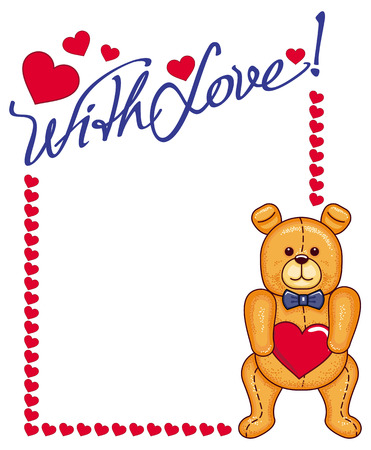 cute bear: Valentine day  background with cute teddy bear and hearts