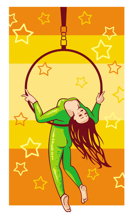 flexible girl: Trapeze artist under the Circus dome