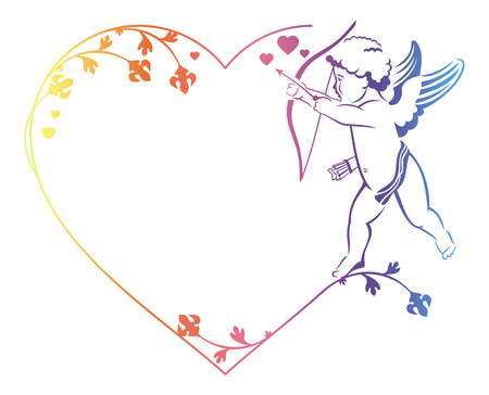 cupido: Color elegant outline frame in shape of  heart with angel