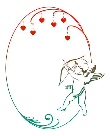 cupido: Color elegant outline frame with angel