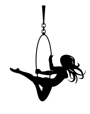 Trapeze kunstenaar silhouet Stock Illustratie