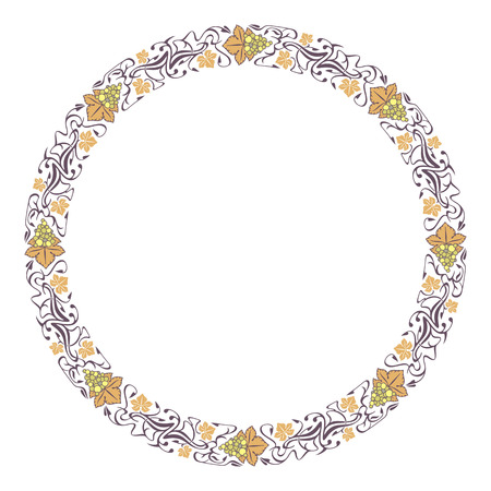 the frame: Round frame with grapes