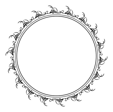 marcos redondos: Abstract round silhouette frame Vectores