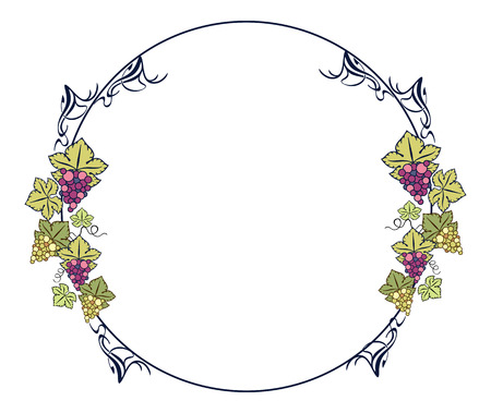 oval  alcohol: Color round frame with grapes Illustration