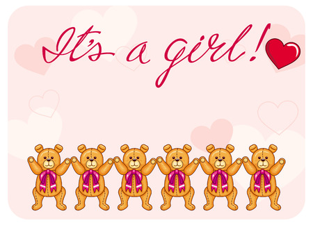 originally: Cute color background with Teddy Bears and originally drawn artistic text Illustration