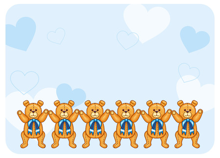 festive occasions: Cute color background with Teddy Bears