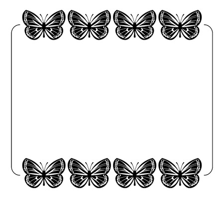 the frame: Silhouette frame with butterflies
