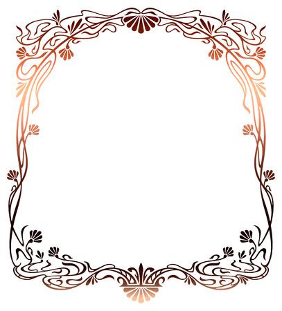 Raster gradient filled art nouveau picture frame Imagens