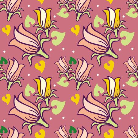 campanula: Seamless pattern with bellflowers