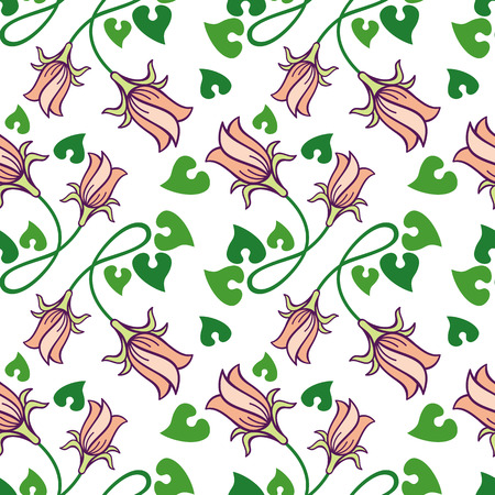 campanula: Seamless pattern with bellflowers